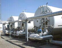 Liquid Oxygen and Liquid Nitrogen (LOX and LIN) storage tanks