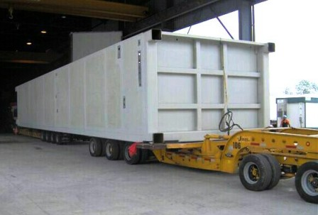 An ASU cold box module leaving fabrication shop.