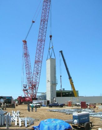 First ASU module in vertical position, about to be moved to foundation.